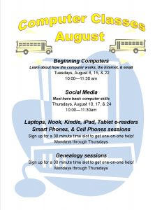 computer classes for august