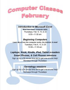 February Computer classes sign