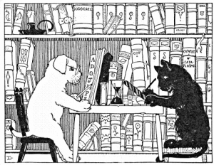 animals reading in the library