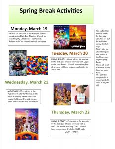 poster listing spring activities for Mar 2018