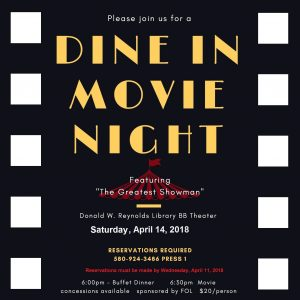 poster for dine in movie night at the library
