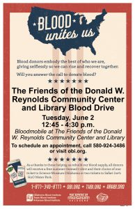Blood drive june 2 in the afternoon in the library's west parking lot.